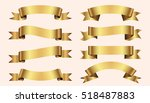 set of golden ribbons on beige... | Shutterstock .eps vector #518487883