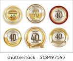 anniversary golden labels retro ... | Shutterstock .eps vector #518497597