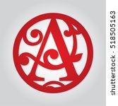 monogram initial letter a in... | Shutterstock .eps vector #518505163