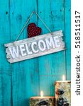 Wood Welcome Sign With Red...