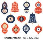 christmas retro ornaments for... | Shutterstock .eps vector #518522653