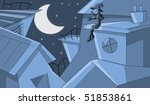 blue starry night with romantic ... | Shutterstock . vector #51853861