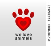 paw print with heart logo... | Shutterstock .eps vector #518552617