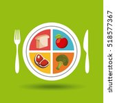healthy food in plate and knife ... | Shutterstock .eps vector #518577367