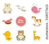 baby shower card with icon set... | Shutterstock .eps vector #518577613