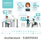 contact us info graphics set... | Shutterstock .eps vector #518595043