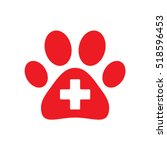 paw first aid cross icon | Shutterstock .eps vector #518596453