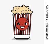 cartoon pop corn basket icon
