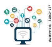 pc wifi connection social media ...   Shutterstock .eps vector #518604157