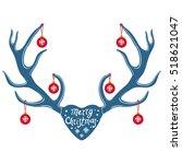 christmas reindeer antlers... | Shutterstock .eps vector #518621047