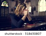 woman sitting church religion... | Shutterstock . vector #518650807