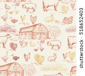 farm animals seamless pattern ... | Shutterstock .eps vector #518652403