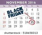 november 2016 calendar sheet... | Shutterstock .eps vector #518658313