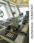 wheelhouse of tug boat. | Shutterstock . vector #518667607