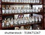old glass medicine bottles on... | Shutterstock . vector #518671267