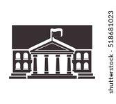 black silhouette town hall...   Shutterstock .eps vector #518681023