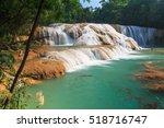 aqua azul waterfall  chiapas ... | Shutterstock . vector #518716747