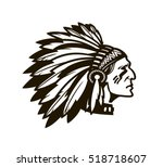 american indian chief. logo or...   Shutterstock .eps vector #518718607