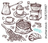 coffee hand drawn collection.... | Shutterstock .eps vector #518725987
