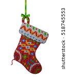christmas stocking of knitted... | Shutterstock .eps vector #518745553