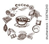 vintage vector of sketh cocoa... | Shutterstock .eps vector #518746243