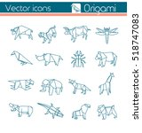 animal origami  vector icons. | Shutterstock .eps vector #518747083