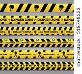 danger tapes set vector. yellow ... | Shutterstock .eps vector #518748223