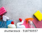 cleaning products on stone... | Shutterstock . vector #518750557