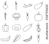 vegetables icons set. outline... | Shutterstock . vector #518755633