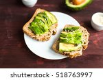 useful toast with avocado and... | Shutterstock . vector #518763997