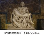 Small photo of VATICAN CITY, ROME, ITALY - May 10, 2016: Beautiful Pieta is a work of the famous sculptor by Michelangelo Buonarroti , housed in St. Peter's Basilica.Magnificent statue made from Carrara marble.
