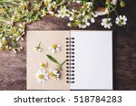 blank notebook with white... | Shutterstock . vector #518784283