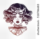 devil girl head portrait with... | Shutterstock .eps vector #518786683