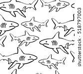 shark doodle seamless pattern... | Shutterstock .eps vector #518797003