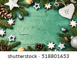 christmas holiday frame with... | Shutterstock . vector #518801653
