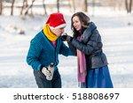 happy couple having fun ice... | Shutterstock . vector #518808697