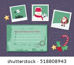 cute christmas envelope and... | Shutterstock .eps vector #518808943