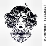 devil girl head portrait with... | Shutterstock .eps vector #518826817