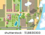 farm top view. village  houses  ... | Shutterstock .eps vector #518830303