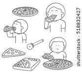 vector set of man eating pizza | Shutterstock .eps vector #518832427