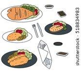 vector set of fried fish | Shutterstock .eps vector #518834983
