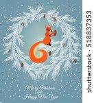 merry christmas card. vector... | Shutterstock .eps vector #518837353