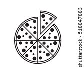 flat pizza icon  grayscale on... | Shutterstock .eps vector #518847883