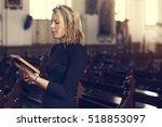 woman standing church religion... | Shutterstock . vector #518853097