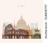 transparent styled rome skyline ... | Shutterstock .eps vector #518858797