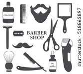 set of tools for barber shop ... | Shutterstock .eps vector #518863897