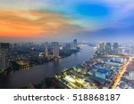 sunset sky over river curved in ... | Shutterstock . vector #518868187