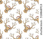 christmas deer vector seamless... | Shutterstock .eps vector #518868913