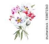 watercolor painting a bouquet... | Shutterstock . vector #518872363