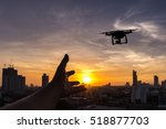 Silhouette Of Man Using Drone...